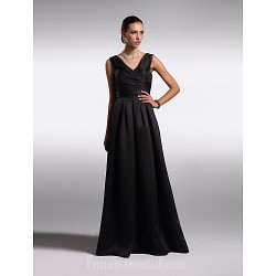 Australia Formal Dress Evening Gowns Black Plus Sizes Dresses Petite A-line V-neck Long Floor-length Satin